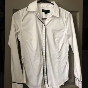 White Button Down with Black Piping